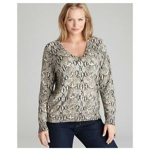 Michael Kors Plus 3X Snake Print Embellished Top